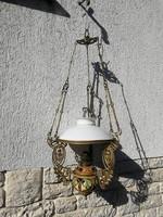 Függő petróleumlámpa szecessziós majokika betétes régi
