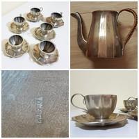 Antik, ezüstözött alpakka, neobarokk stílusú kávés 13 db-os készlet csésze alátét kiöntő jelzett