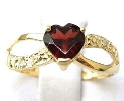 Tömör 10k arany gyémánt gyűrű gránát kővel
