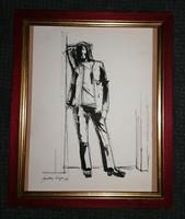 Szalay Lajos - (1909 - 1995) Tus rajz Eredeti Garanciával !