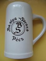 Bordó feliratos retro Zsolnay sörös korsó, Bástya söröző