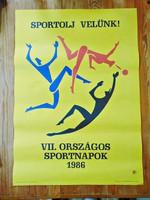 Sportolj velünk 1986 Szepes Béla plakát , litográfia