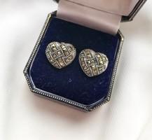 Markazit köves,szív alakú ezüst fülbevaló