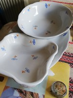 3 db antik Zsolnay porcelán kínáló tál hibátlan ritka kék/szürke virág mintás ovális szögletes kerek