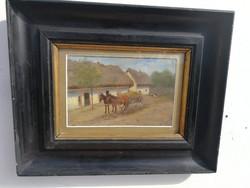 Németh György , vagy Béla jelzéssel festmény lovas szekeres falusi kép
