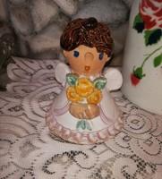 Szilágyi Mária jelzett kerámia angyalos csengő angyalka, Gyűjtői darab, nosztalgia