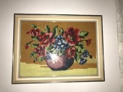 Virágos csendélet gobelin pipacsos 33 x 25 cm