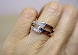 Gyönyörű  art deco ezüstgyűrű fehér kövekkel