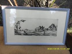 Szőnyi István 1921  korai falusi táj rézkarc