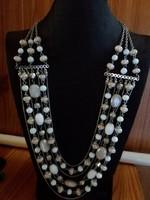 Retro Bizsu gyüjtemény -Krémfehér-capuccino dekoratív nyaklánc
