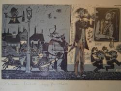 CSAVLEK ANDRÁS BUDAPEST, 1942 Pesten lakott egy fuvolás Színes linómetszet 48x15 cm