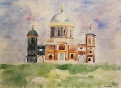 Turmayer Sándor : Napsütötte templom. Akvarell papír