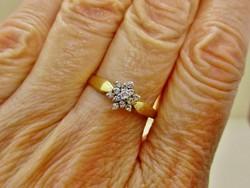 Meseszép margaréta arany gyűrű 0,15ct gyémánt kővel