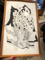 Vasarely jelzéssel, vegyestechnika, 30 x 55 cm-es, ritkaság.