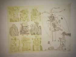 Würtz Ádám rézkarca: Queen of Spades ( azaz Pikk Királynő), 84/100