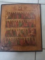 Antik orosz ikon 19sz kalendarium APRILIS