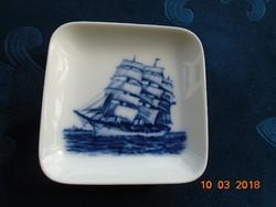 Royal Coppenhagen kézzel festett,számozott,gyűjtői kék fehér plakett falidísz Régi vitorlás hajó
