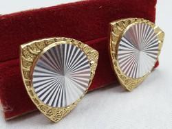Retro bizsu ezüst és arany színű mandzsetta gomb újszerű állapotban