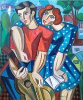 Csodálatos színekkel megfestett ART DECO Samuel Veksler festmény 65x54 cm