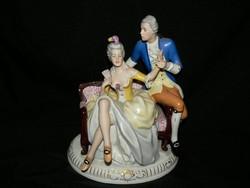 Royal Dux Bohemia kézzel festett porcelán barokk figurális jelenet