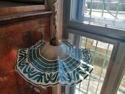 Különleges régi festett üveg búrás csillár, lámpa