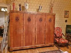 Szecessziós antik bútor hibátlan hálószoba garnitúra franciaágy akasztós polcos szekrény ritkaság!