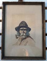 A pipás öreg ember  Balogh festmény akvarell