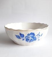 Gránit Kispest kék rózsa mintás - aranyozott nagytál - pogácsás komatál - tálaló - retro porcelán