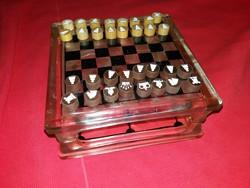 Régi Iparművész sakk / malom játék készlet súlyos üveg táblával szép állapotban