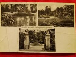 Antik fotó képeslap Makó Horthy Miklós park a képek szerint