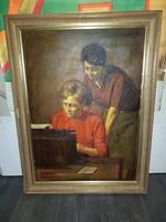 """Szabó Lajos (1927-1995), Munkácsy-díjas festőművész, """"Gépírók"""", 50*70+keret"""