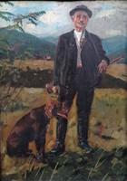 """Viski János (1891 - 1987 ) """" Pipázó vadász, kutyával 1921....!!"""