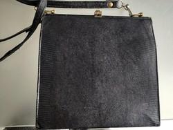 Igazi kígyóbőr alkalmi táska, fekete  retikül 1970