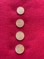 Arany színű magyar fillér forint sor 10fillér-20fillér-50fillér-1forint  , VF
