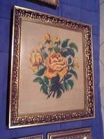 Gobelin, goblen, sárga rózsák üvegezett keretben