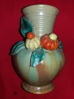 Antik NAGYON RITKA nagy KOMLÓS kerámia: Pocakos virágos váza a képek szerint  19 cm