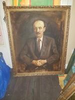 """Szabó Lajos (1927-1995), """"Férfi portré"""", Munkácsy-díjas festőművész, 80x100+keret, olaj, vászon"""