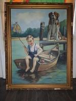 Pólya T. szignós pecázó fiú bernáthegyi kutyával, 60x80+keret, olaj, vászon
