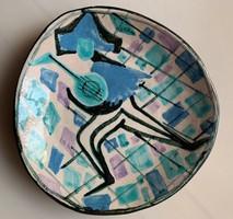 Harlekin - Bohóc mintás retro iparművész kerámia falidísz
