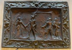 Antik francia réz falikép,'búcsúzás'.