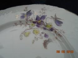 Antik szecessziós egyedi kézzel festett virágmintás dombormintás tányér