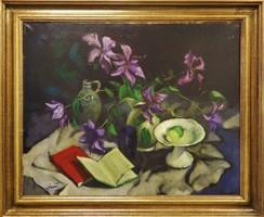 Szignált kép : Asztali csendélet ,olajfestmény