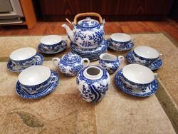 6 személyes, japán, cseresznyeviragos tojáshéj porcelán teáskeszlet. Gyönyörű, hibátlan!