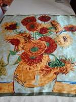 Vincent Van Gogh ihlette gyönyörű napraforgós selyem kendő, 90 x 90 cm