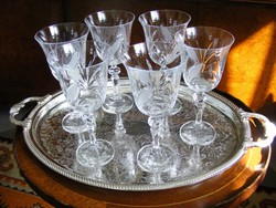 Gyönyörűen kézzel metszett, egyedi, ünnepi kristálypohár készlet, 6 db boros vagy pezsgős kehely