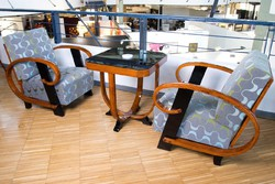 Art-deco fotel pár +asztal  Thonet