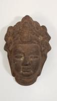 Antik öntöttvas Buddha fej