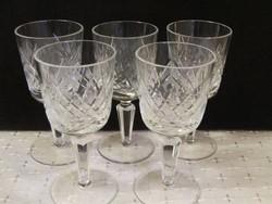 Kristály talpas,csiszolt likőrös pohár 5 db