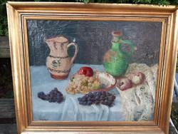 Csapó Jenő : asztali csendélet gyümölcsökkel, népi kancsókkal
