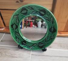 HMV jelzesű kerámia tükör, nosztalgia darab Hódmezővásárhelyi